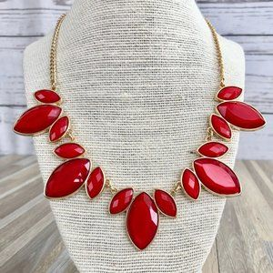 Charming Charlie Red Enamel Statement Necklace